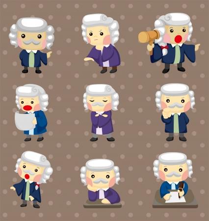 peluca: dibujos animados pegatinas Juez