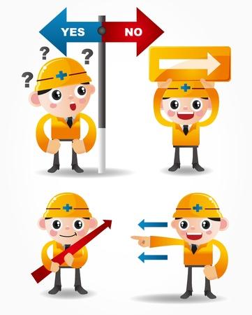 funny cartoon worker icon set with arrow board Vector