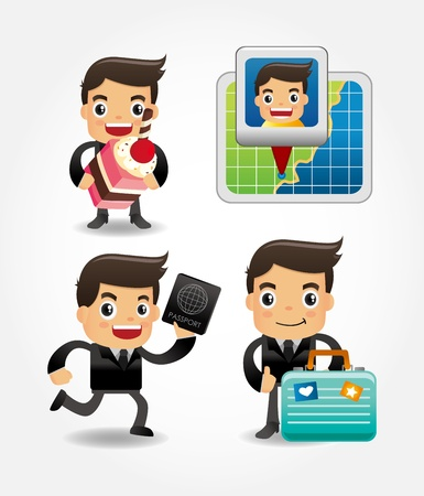 set of funny cartoon office worker go to travel Vector