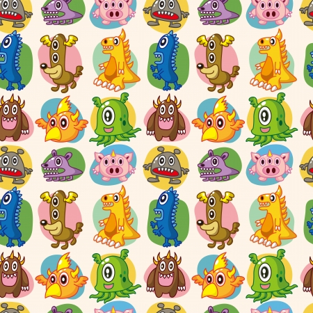 seamless monster pattern Vector