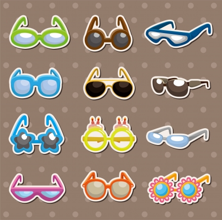 Sunglasses set stickers Vector
