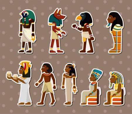 hieroglyph: cartoon pharaoh stickers Illustration