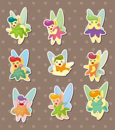 cartoon little baby fairy stickers Vector