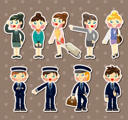 cartoon flight attendant/pilot stickers Vector
