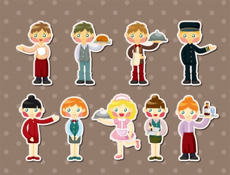 cartoon waiter and waitress stickers Vector