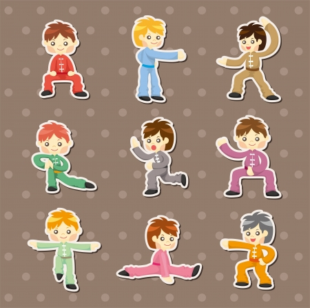 cartoon chinese Kung fu stickers Vector