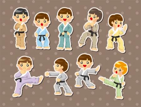 cartoon Karate Player stickers  Vector