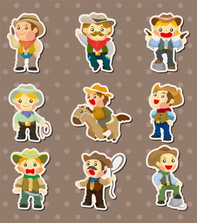 cowboy stickers Vector