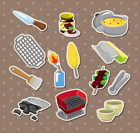 bbq tools stickers  Vector