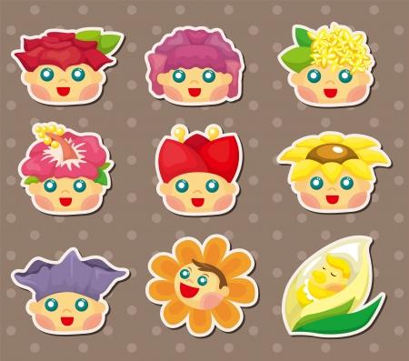 cartoon flower fairy stickers  Vector