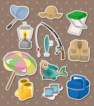 vest in isolated: fishing stickers Illustration