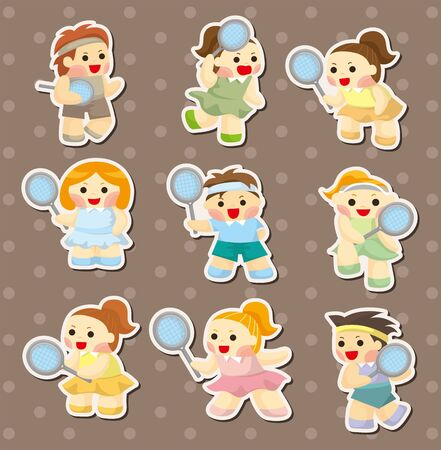tennis player stickers Vector