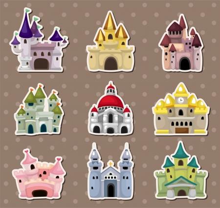 etiquetas redondas: dibujos animados del cuento de hadas del castillo pegatinas Vectores