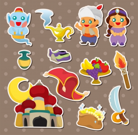 artoon Lamp of Aladdin stickers Vector