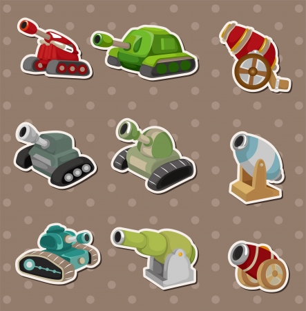 cartoon Tank and Cannon Weapon stickers Vector