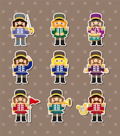 cartoon Toy soldiers stickers  Vector