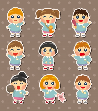 kid student stickers Vector