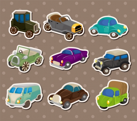 retro car stickers Stock Vector - 14829405