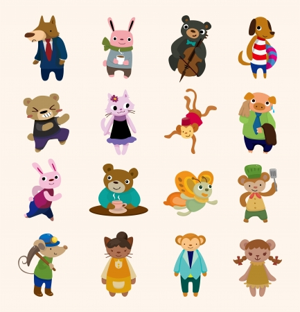monkey suit: 16 cute animal icons set