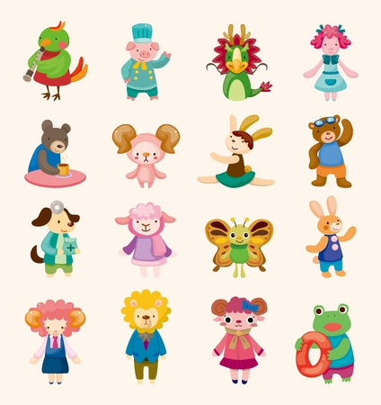 16 cute animal icons set Vector