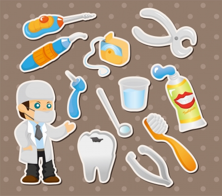 cartoon dentist tool stickers  Vector