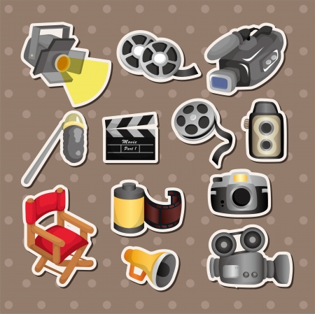 movie director: cartoon movie equipment icon set  Illustration