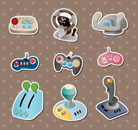 cartoon game joystick stickers  Vector
