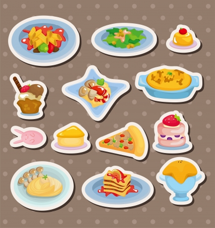 cartoon Italian food stickers Vector