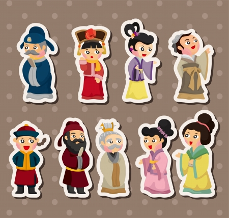 chinese people stickers  Vector
