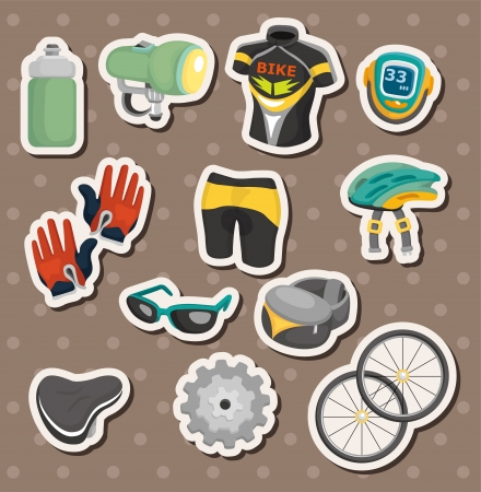 cartoon bicycle equipment stickers Vector