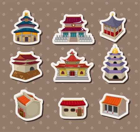temple tower: Chinese house stickers