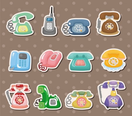 old home office: retro phone stickers