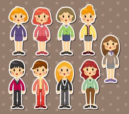 office woman stickers  Vector