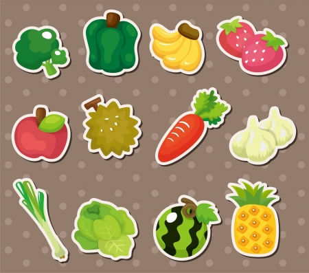carrot juice: cartoon Fruits and Vegetables icon set