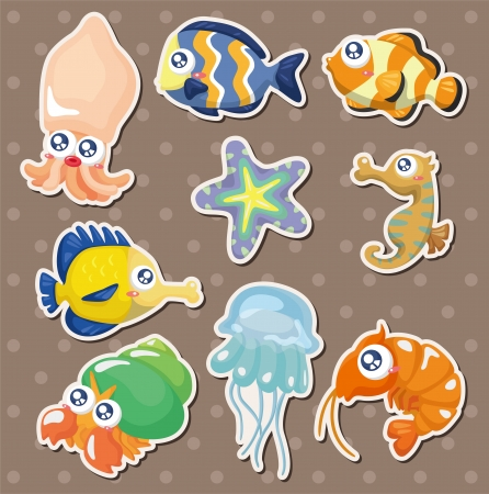hermit crab: cartoon fish collection stickers Illustration