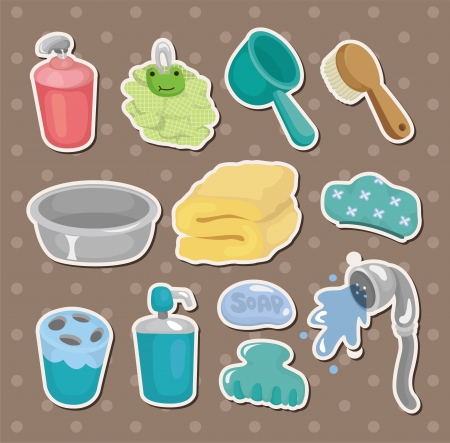 cartoon Bathroom Equipment  stickers Stock Vector - 14829425