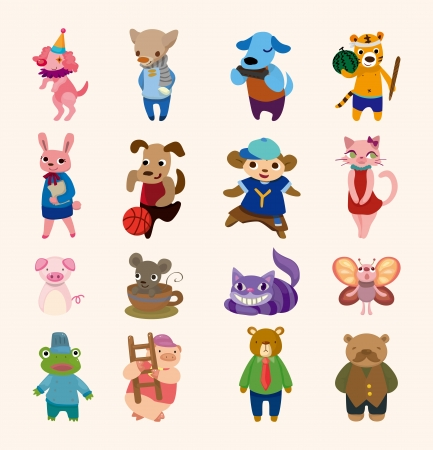 set of 16 cute animal icons Vector