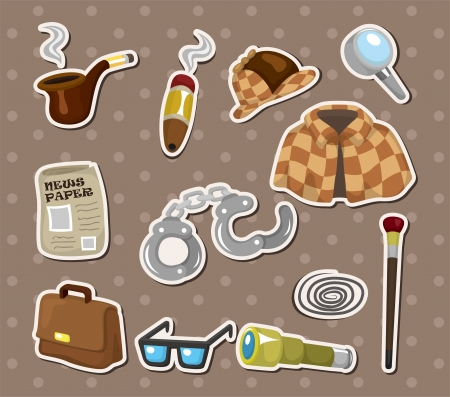 Cartoon detective equipment stickers  Vector