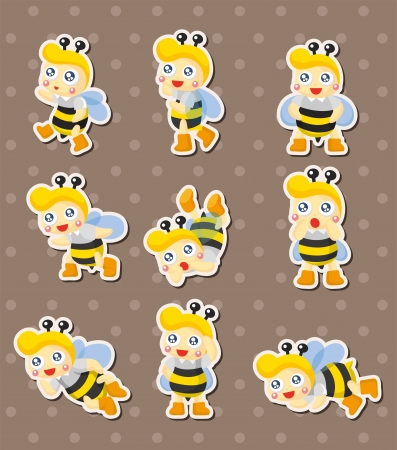 cartoon bee boy stickers  Vector