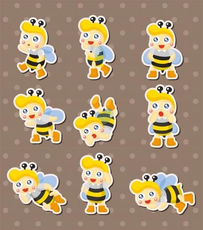 comic wasp: cartoon bee boy stickers