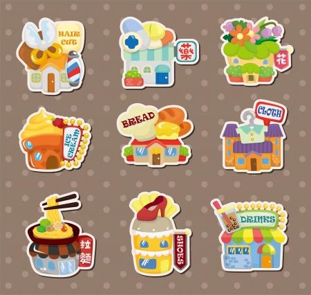 casita de dulces: pegatinas Tienda Vivienda Vectores