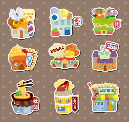 shop house stickers Vector