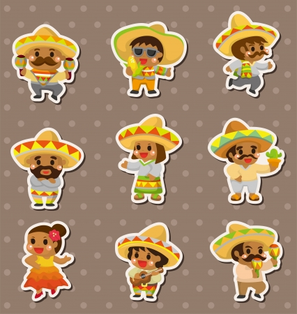 Mexican people stickers  Vector