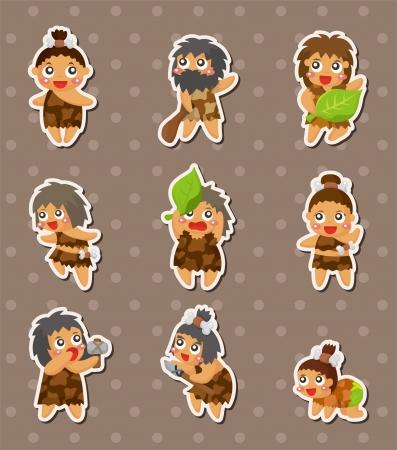 edad de piedra: pegatinas de dibujos animados Hombre de las cavernas