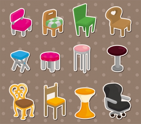 cartoon chair furniture stickers Vector