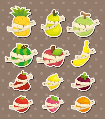 set of fresh fruit and ruler health  stickers Vector