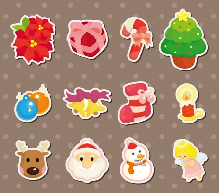 cute cartoon Christmas element stickers Stock Vector - 14958088