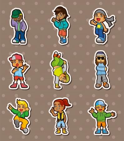 hip hop boy stickers  Vector