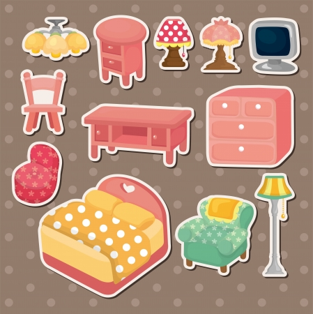 cute cartoon furniture stickers Vector