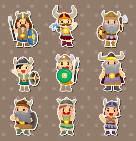 Vikings people stickers  Vector